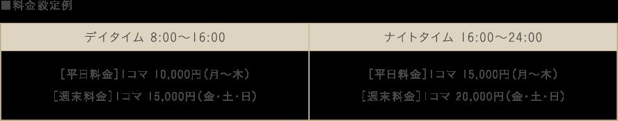 ■料金設定例 デイタイム 8:00〜16:00 [平日料金]1コマ 10,000円(月〜木)[週末料金]1コマ 15,000円(金・土・日) ナイトタイム 16:00〜24:00 [平日料金]1コマ 15,000円(月〜木)[週末料金]1コマ 20,000円(金・土・日)